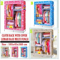 Cloth Rack With Dust Cover Lemari Kain Rak Baju Multifungsi