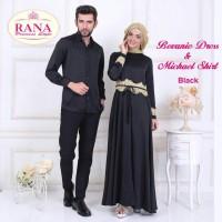 Rana Bevanie Dress Gamis Pesta Brukat Satin Mewah Hitam Polos