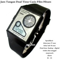 jam tangan terbaru unisex Casio Film Watch Dual Time hitam