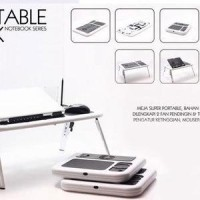 Meja Laptop Lipat Portable E-Table Kipas Computer Desk With Fan Cooler