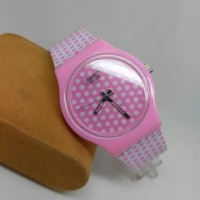 jam tangan fashion swatch rubber volcadote pink include box