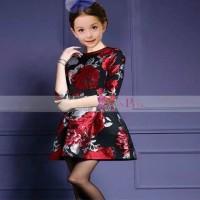 Jual (DRESS ANAK) Korea Pink Dress Mawar Merah. Baru   Baju Gaun / D