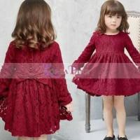 Jual (DRESS ANAK) Korea Pink Dress Brukat Marun. Baru   Baju Gaun /