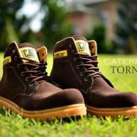Sepatu Boots CAT Safety Pria Tornado Brown Suede