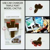 Car Charger Mobil USB 3 Port Model Cactus For HP Smartphone - Hitam