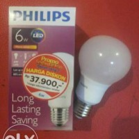 Lampu Bohlam LED Philips 6 Watt Kuning / Warm White (6W 6 W 6Watt)