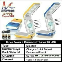 Kipas Angin + Lampu Emergency Lipat 20LED MITSUYAMA MS-5532