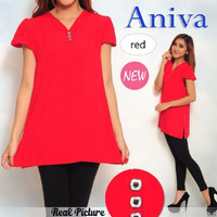 [Hem Aniva SW] pakaian wanita kemeja warna merah