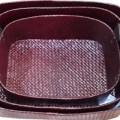 Tilavie Set Keranjang Oval Tali Anyaman Pandan - Dark brown