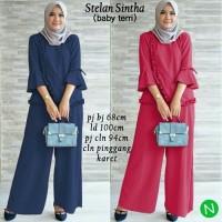 setelan baju muslim tunik blouse polos kaos celana kulot panjang xl