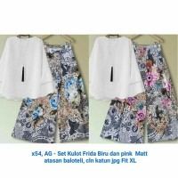Baju Setelan Wanita Terlaris Celana Kulot Batik Blouse Putih Polos