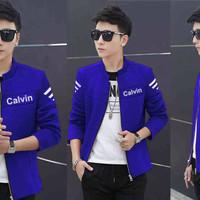 [jaket calvin benhur VL] jaket pria babyterry biru