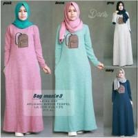 Bag Maxy Terusan Baju Kaos Muslimah Dress Lurus Gamis Sehari Hari