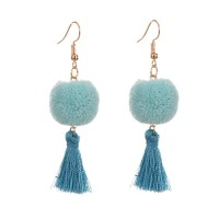 [HOT ITEM] KE86905 Anting Tassel Pom-pom Biru