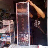 Tulisan Lampu Led Sign BARBER OPEN PANAH WATER PROOF - NO RUNNING TEXT