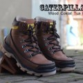 SEPATU CATERPILLAR BOOTS / BOOT SAFETY WOOD COKLAT TUA DOP