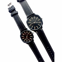 Couple Jam Tangan Analog Nixon Warna Hitam list Putih/ Gaul/ Trendy