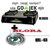Paket Rinnai RI-302S Kompor Gas 2 Tungku + Selang Regular Quantum