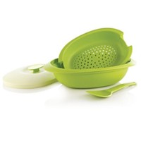 Tupperware Blossom Oval Server With Colander & Spoon - Hijau