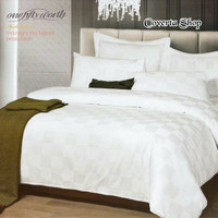 Bed Cover Set Hotel - Polos Putih Kotak - Queen Size -160x200x30cm