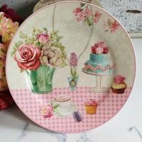 Piring salad cantik motif bunga & cake bahan keramik ready jakarta