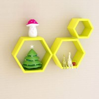 Floating Hexagon Shelves / Rak Dinding Hexagon