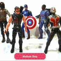 MARVELL SUPERHERO CAPTAIN AMERICA SET 5 ACTION FIGURE MURAH KADO ANAK
