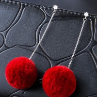 Anting Tusuk Lovely Maroon Fuzzy Ball Decorated Pom Earrings E27238