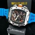 Jam Tangan Pria Richard mille Rm 011- 03 Silver Rubber Blue