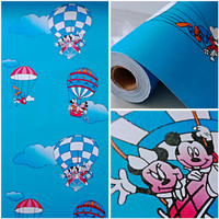Wallpaper stiker dinding motif mickey mouse balon udara 10mx45cm