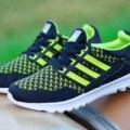 sepatu anak muda adidas sport running ultra boost pria +hitam hijau+