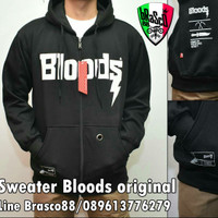 jaket pria sweater Bloods- jaket Bloods hoody - jacket black ori