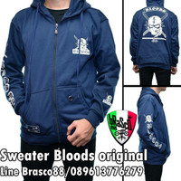 jaket pria sweater bloods- jaket bloods distro navy- jacket distro ori