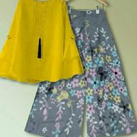 floral setelan blouse Atasan + celana kulot panjang