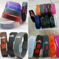 Jam Tangan arloji Gelang LED Adidas Nike Puma Sporty Digital Watch