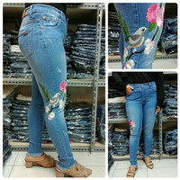 fashion wanita celana jeans stretch import jumbo bigsize bordir bird