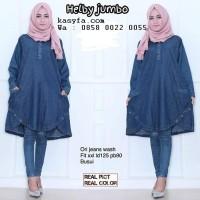 Grosir baju atasan muslim wanita gemuk blouse jeans muslimah Terlaris