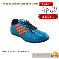 NO 42 WESTON PALANI FUTSAL S BLUE ORANGE sepatu futsal casual sneakers