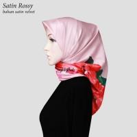 Jilbab Segiempat Satin Velvet Motif Bunga Rossy