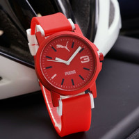 Jam Tangan Pria / Cowok Puma Mini Color Rubber Red White