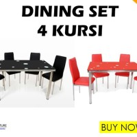 Dining Set - Kursi & Meja Makan (4 Kursi Full Stainless Steel)