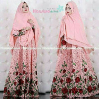 Baju Gamis Syar'i Wanita Anggun Terbaru/Baju Muslim Hawwa Aiwa Peach