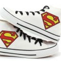 Sepatu lukis high converse allstar white putih superman