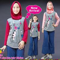 288-1 Setelan Hijab Anak Little Pineapple Junior Celana Kulot 7-12 th
