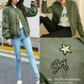Jaket wanita hijau army jacket baju luaran outer bomber mirip zara