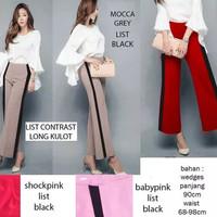 Celana wanita kekinian celana kulot list warna