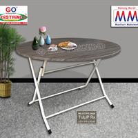 Meja Lipat Bulat Besar Papan Tebal untuk Makan Meeting Pameran FreOng