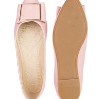 Connexion flat shoes wanita-pink-cokelat