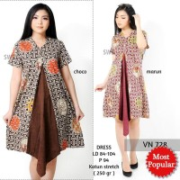 SEVN728 - DRESS PESTA BATIK TUNIK DRESS KANTOR WANITA MODERN MURAH 7f7198b512