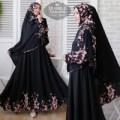 gamis muslim wanita bubble pop hitam [Syari Bubble Sakura Black TL]